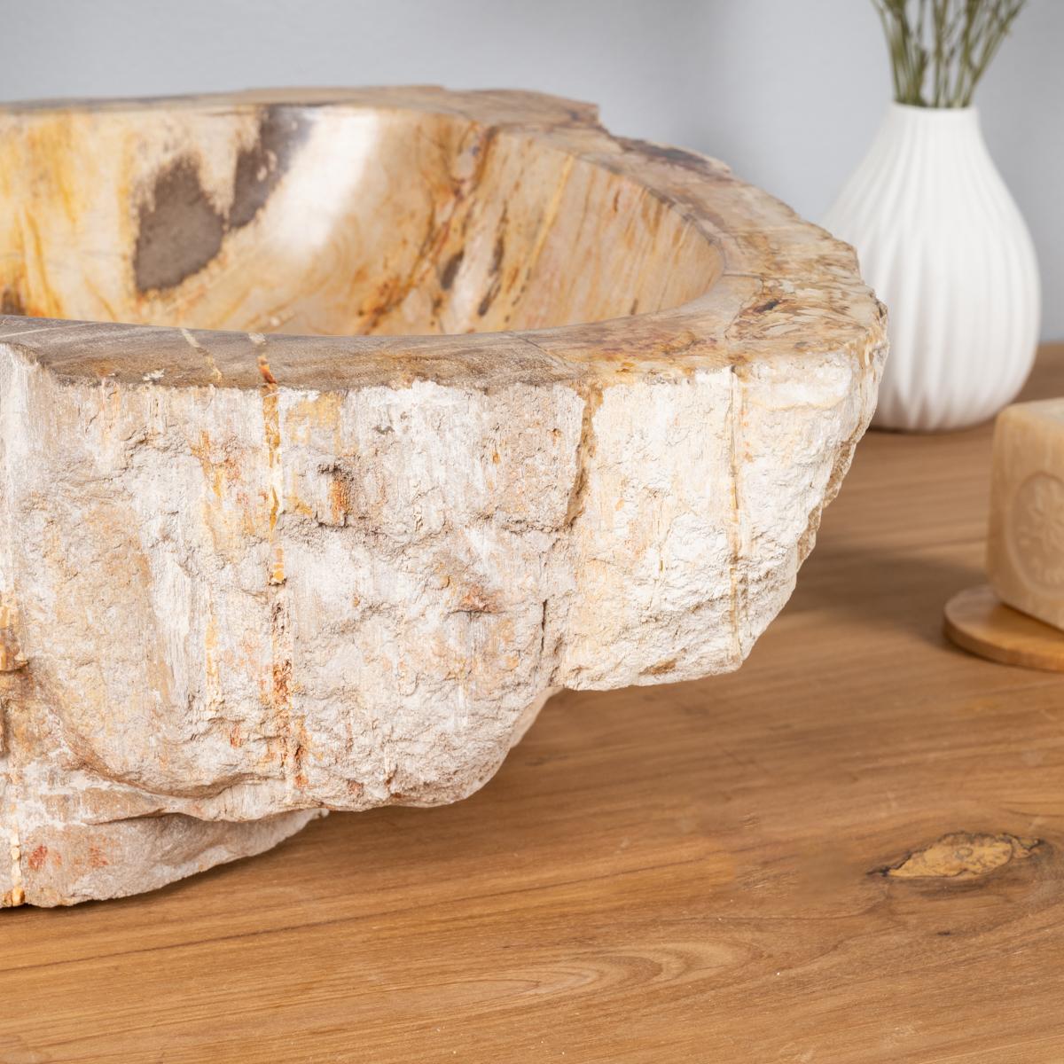 vasque en bois vasque poser bois p trifi fossilis marron 60 cm. Black Bedroom Furniture Sets. Home Design Ideas