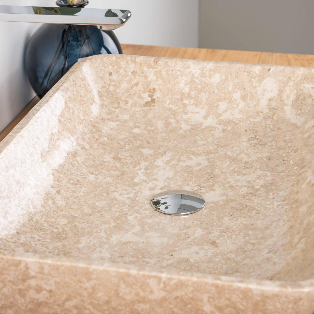 vasque de salle de bain en marbre carmen cr me 60cm. Black Bedroom Furniture Sets. Home Design Ideas