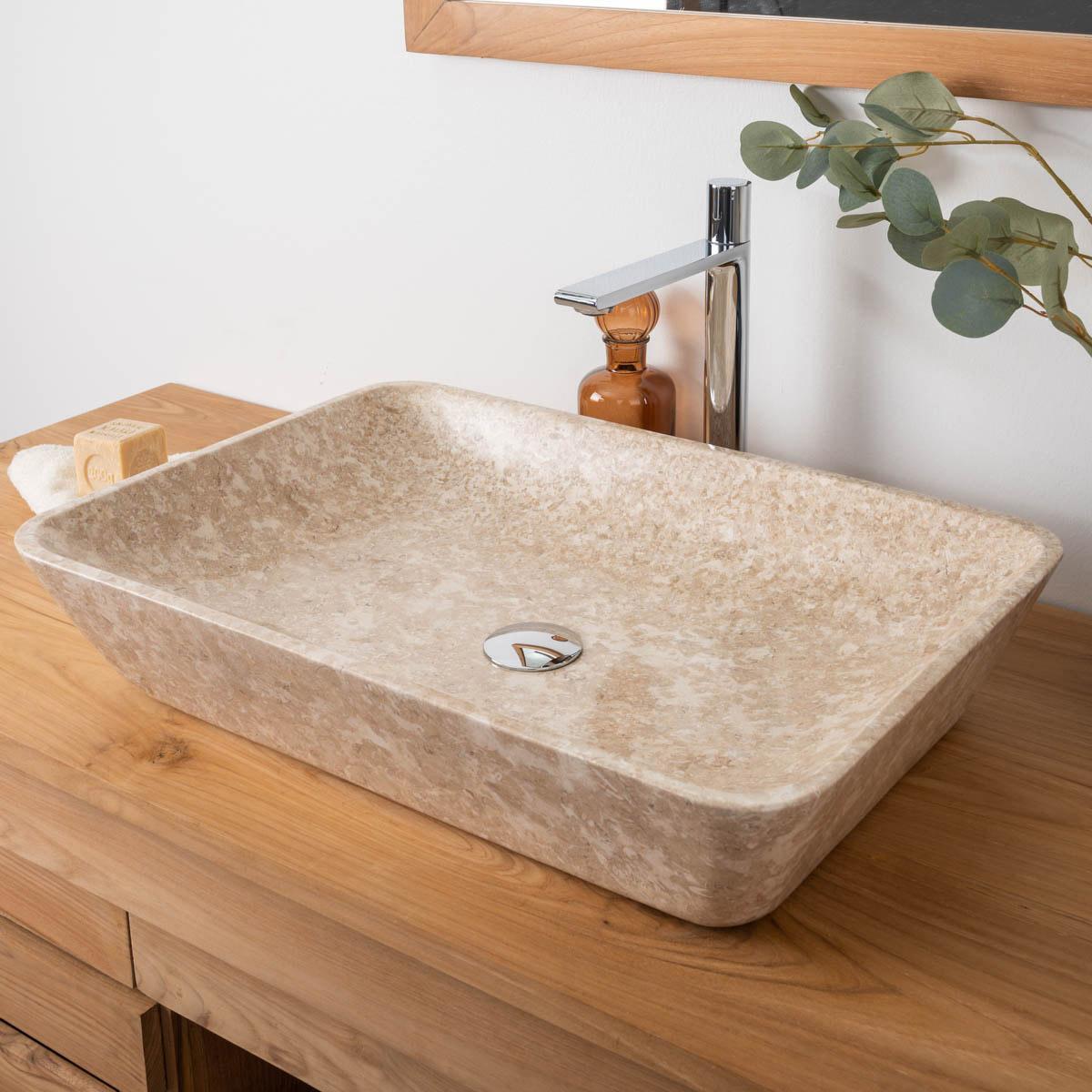 vasque de salle de bain en marbre carmen cr me 60cm meubles wanda collection. Black Bedroom Furniture Sets. Home Design Ideas