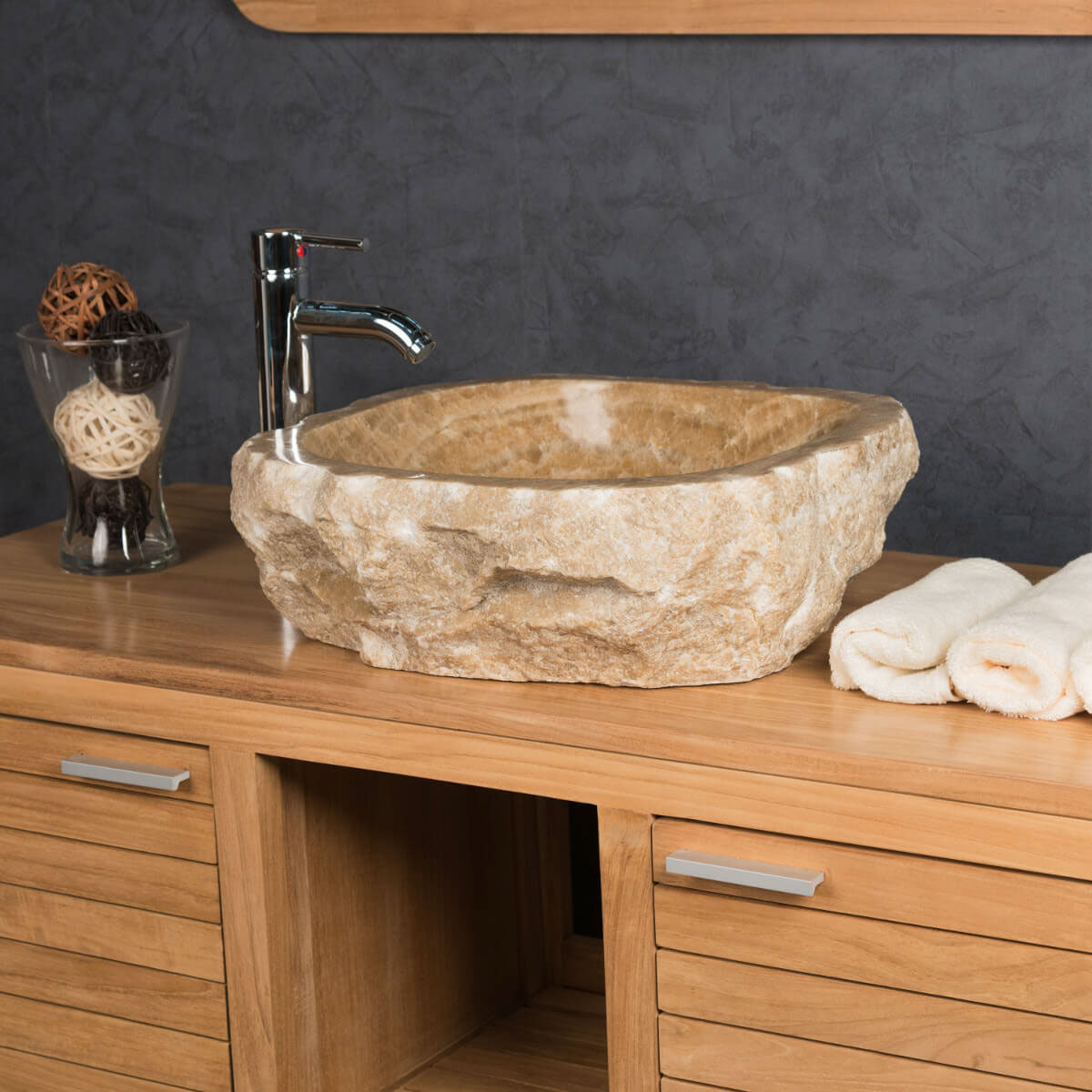 Vasque poser en pierre d 39 onyx l 40 45 cm for Salle de bain cottage