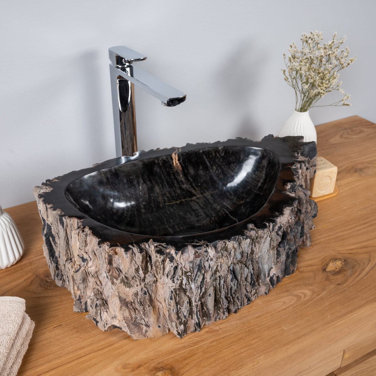 Vasque vasque poser bois p trifi fossilis l 53 cm x p 38 cm 3829 - Vasque salle de bain bois ...