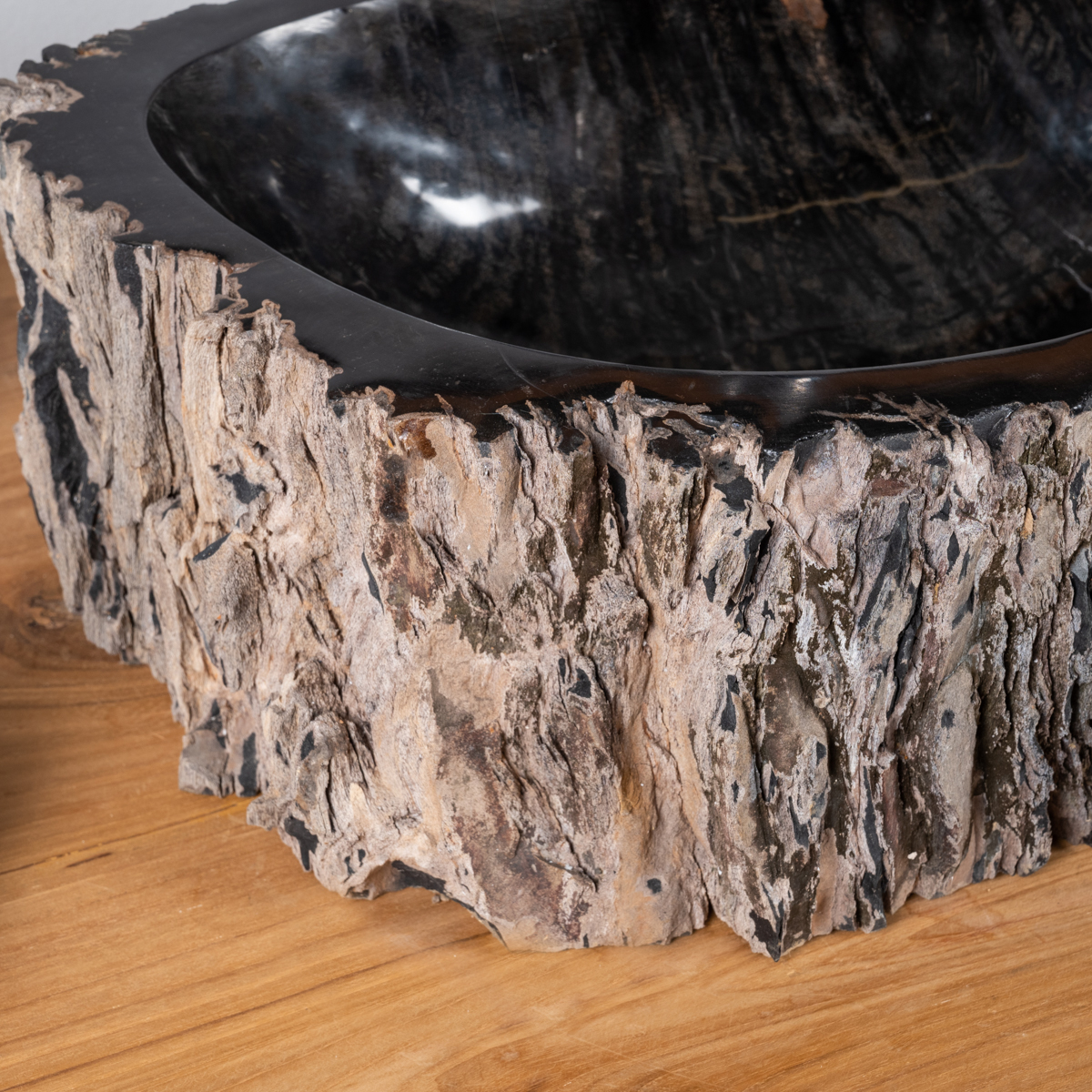 vasque en bois vasque poser bois p trifi fossilis marron 65 cm. Black Bedroom Furniture Sets. Home Design Ideas