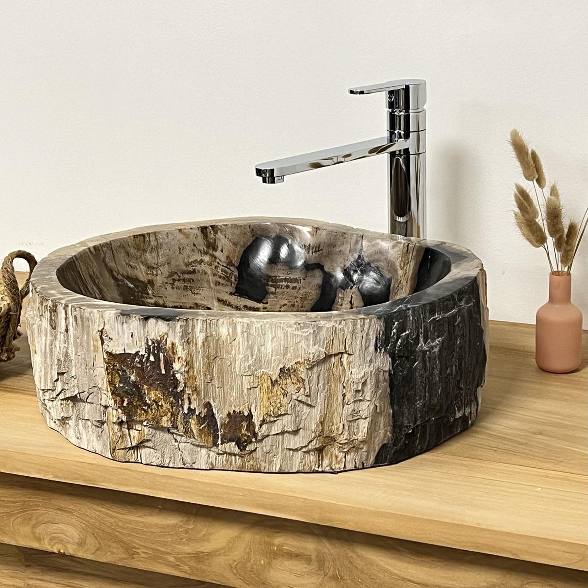 Vasque de salle de bain en bois p trifi 40 cm - Vasque salle de bain bois ...