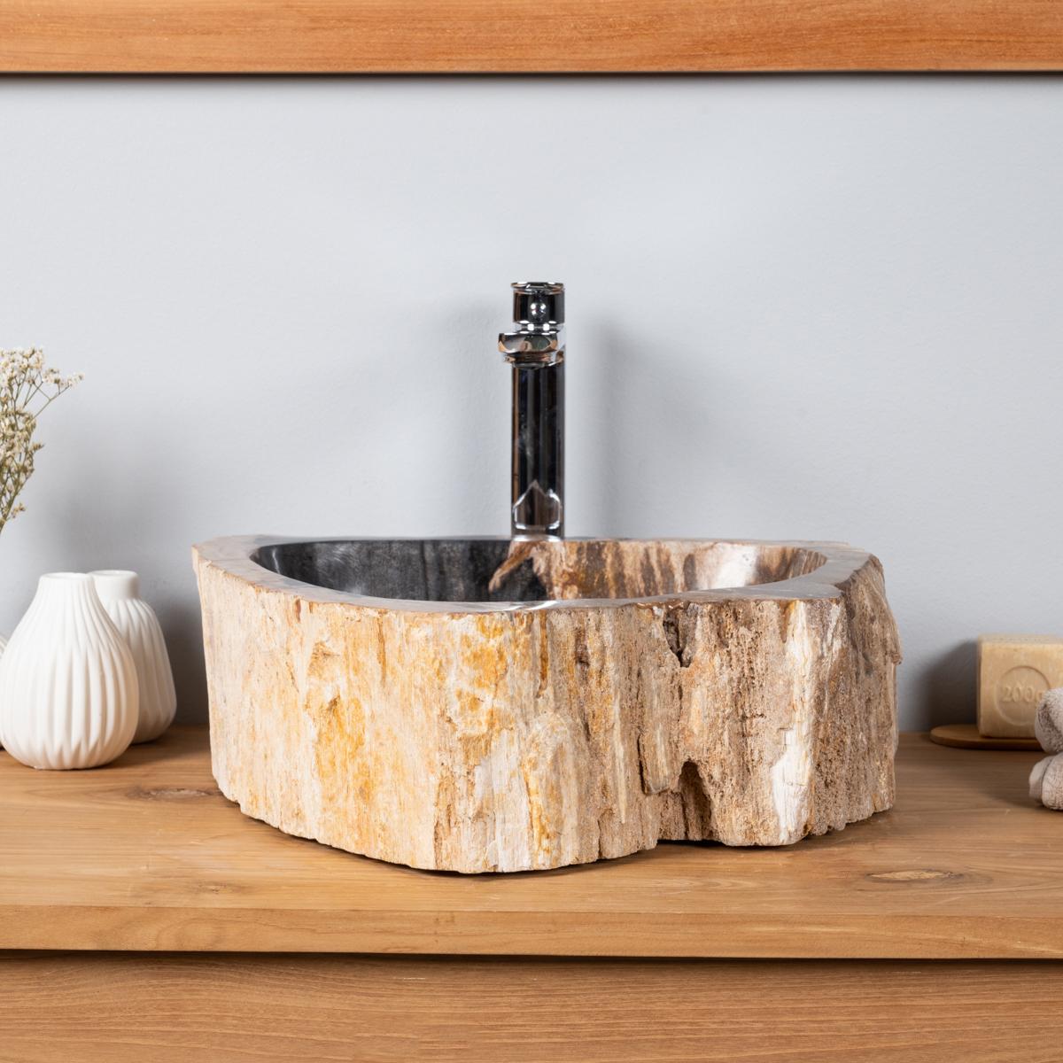 Vasque de salle de bain en bois p trifi fossilis l 42 cm - Vasque salle de bain bois ...