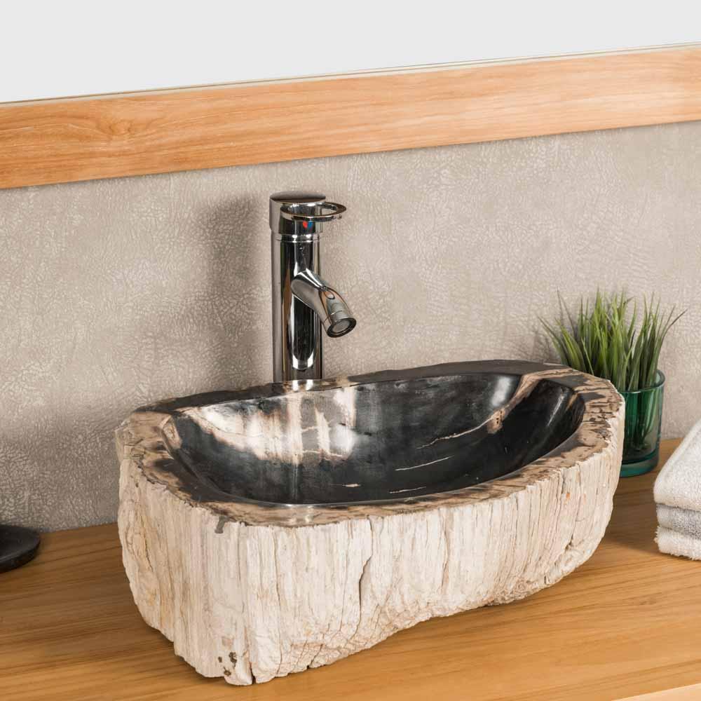 Vasque de salle de bain en bois p trifi fossilis 45 cm - Vasque salle de bain bois ...