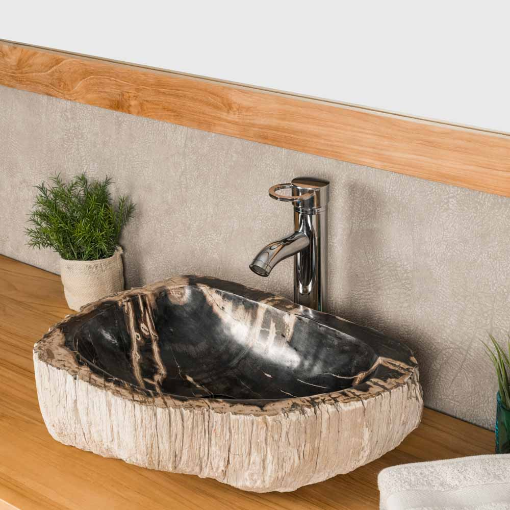 Vasque poser en bois p trifi fossilis l 50 cm for Vasque salle de bain en bois
