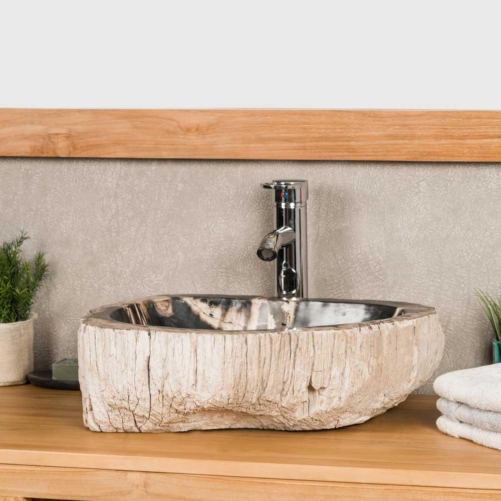 vasque poser en bois p trifi fossilis l 50 cm. Black Bedroom Furniture Sets. Home Design Ideas