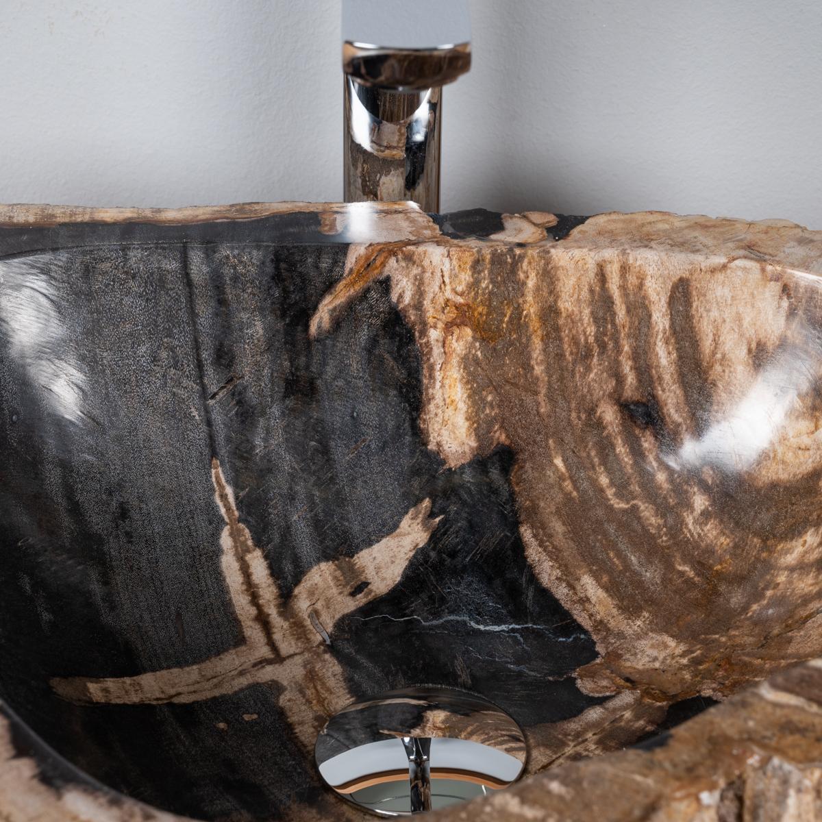 Vasque de salle de bain en bois p trifi fossilis l 60 cm for Vasque salle de bain 60 cm