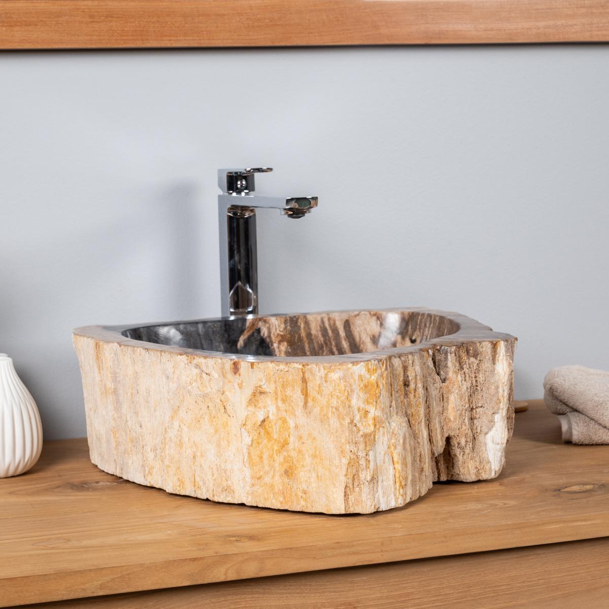 Vasque de salle de bain en bois p trifi fossilis l 60 cm - Vasque salle de bain 60 cm ...
