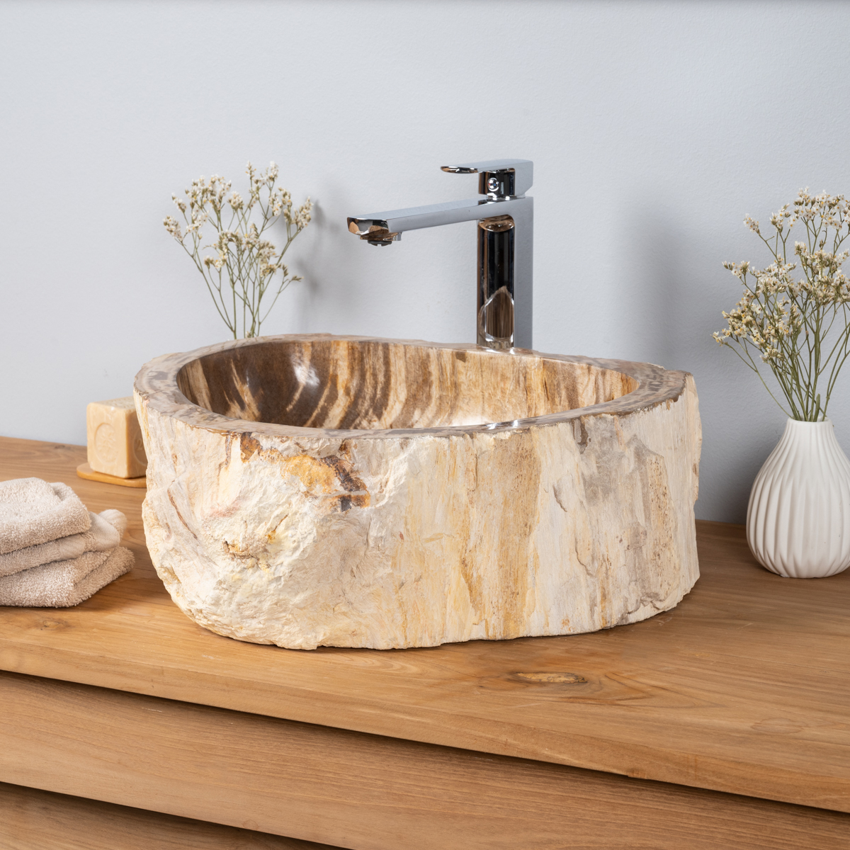 Vasque salle de bain vasque poser bois p trifi fossilis marron 55 cm - Vasque salle de bain bois ...