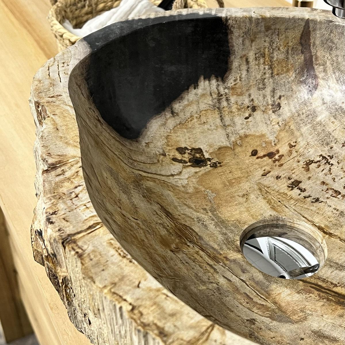 Vasque de salle de bain en pierre bois p trifi fossilis noir 40 cm - Vasque salle de bain bois ...
