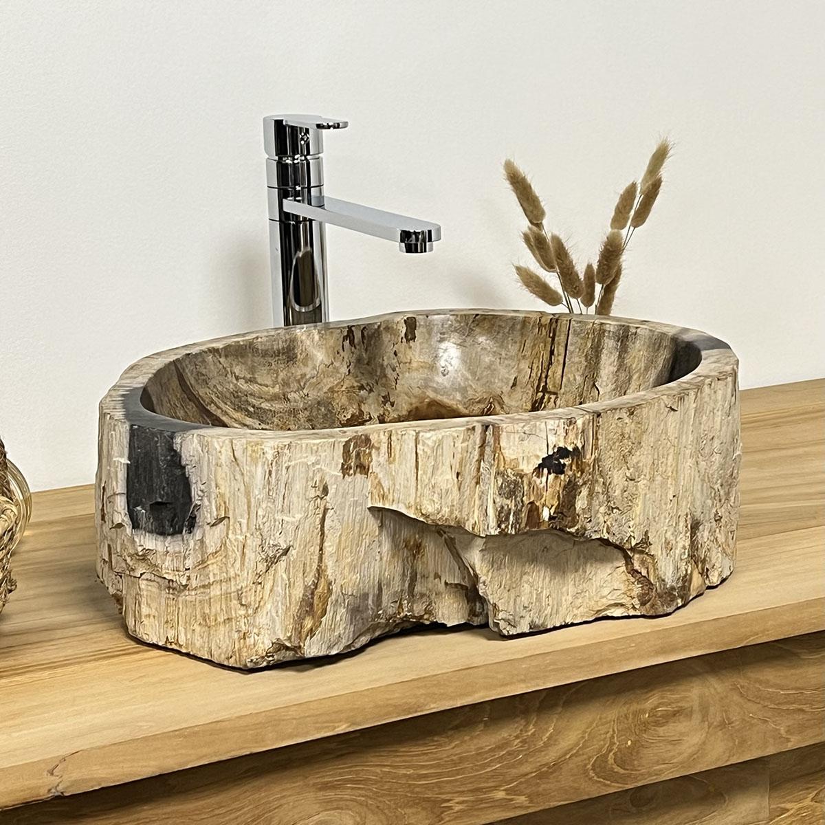 Vasque vasque poser bois p trifi fossilis l 43 cm - Vasque de salle de bain en pierre ...