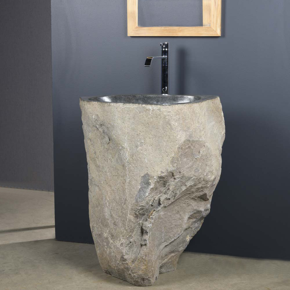 Vasque de salle de bain sur pied en galet de rivi re 90x40cm for Vasque sur pied salle de bain