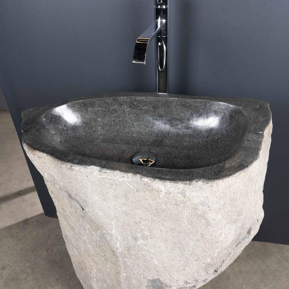 vasque de salle de bain sur pied en galet de rivi re 90x40cm. Black Bedroom Furniture Sets. Home Design Ideas