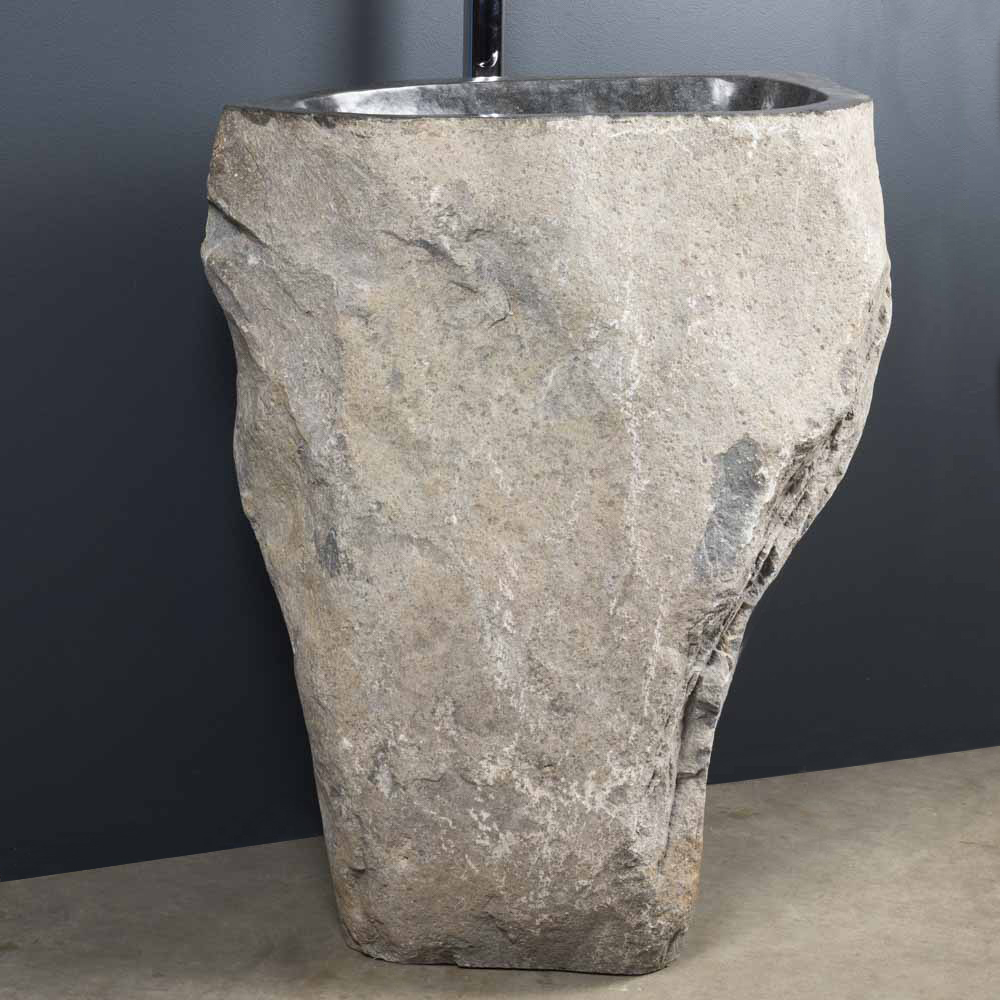 Vasque de salle de bain sur pied en pierre de rivi re - Vasque de salle de bain en pierre ...