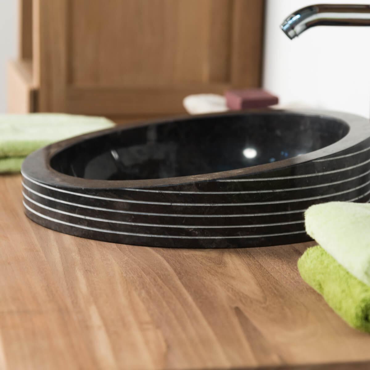 vasque poser en marbre eden inclin e noire d 26 cm. Black Bedroom Furniture Sets. Home Design Ideas
