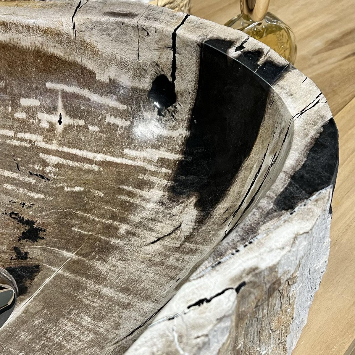 Vasque vasque poser bois p trifi fossilis l 53 cm x p 38 cm - Vasque en bois ...