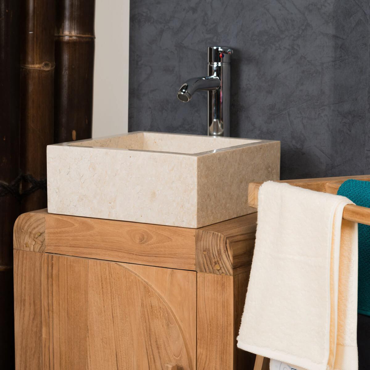 Vasque poser en marbre milan ronde blanche d 30 cm - Vasque 35 cm ...