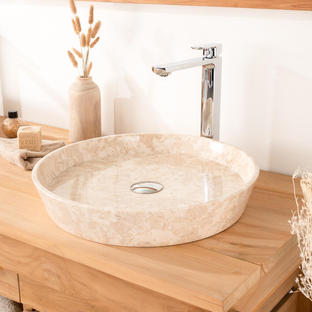 vasque en marbre poser salle de bain malo cr me meubles wanda collection. Black Bedroom Furniture Sets. Home Design Ideas