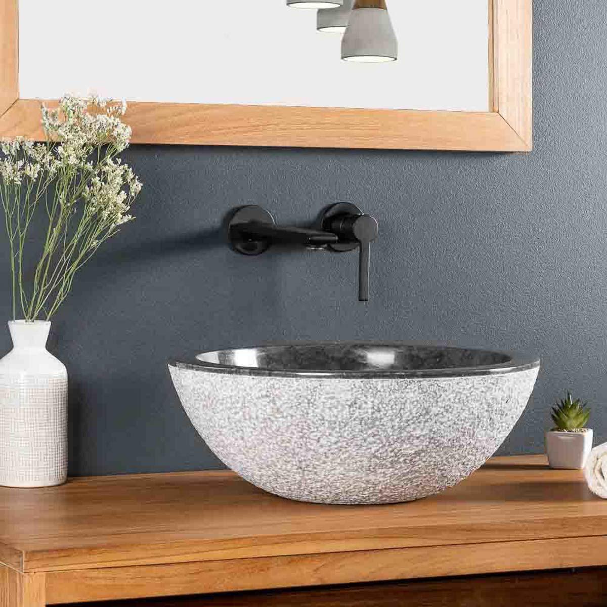 vasque en marbre poser stromboli noir 40cm. Black Bedroom Furniture Sets. Home Design Ideas