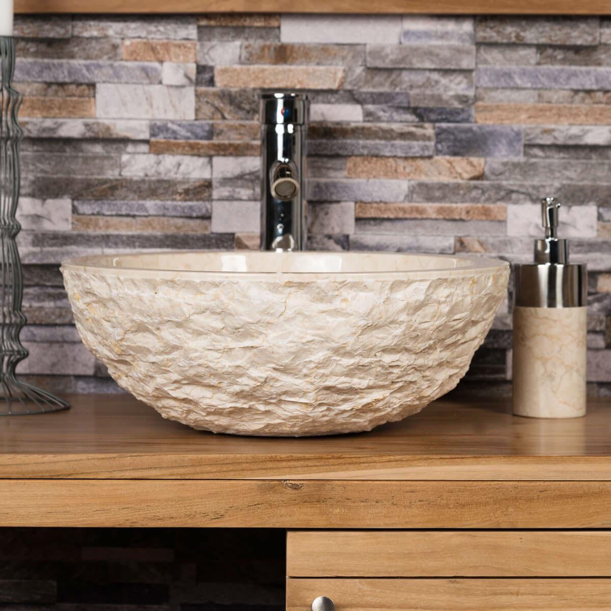 vasque rome en marbre poser cr me 40cm. Black Bedroom Furniture Sets. Home Design Ideas