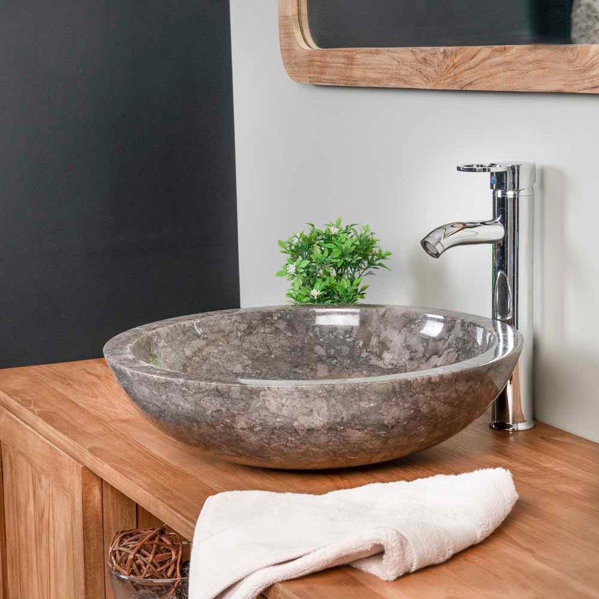 vasque poser en marbre barcelone vasque ronde grise d 45 cm. Black Bedroom Furniture Sets. Home Design Ideas