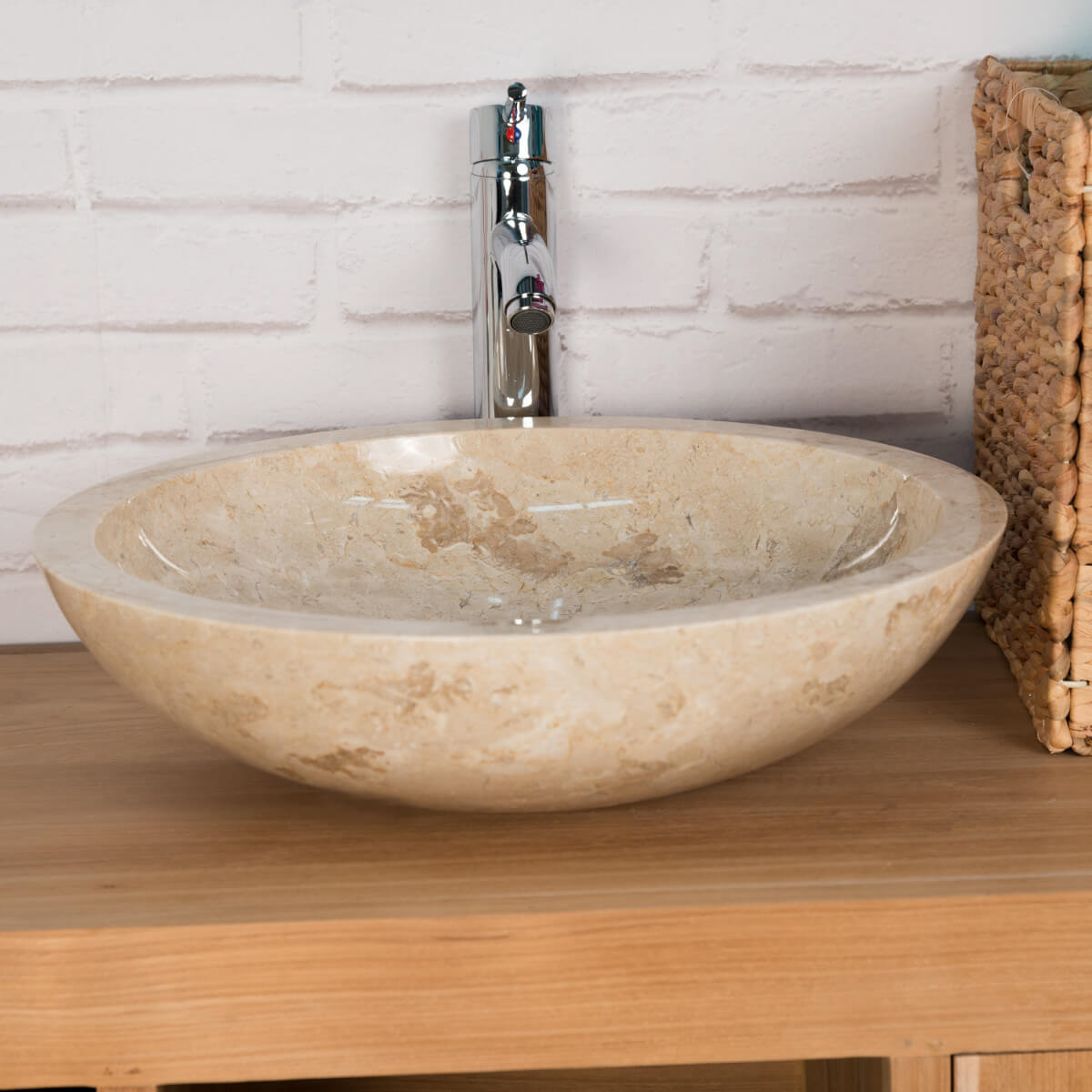 Vasque poser en marbre barcelone ronde cr me d 45 cm for Salle de bain epuree