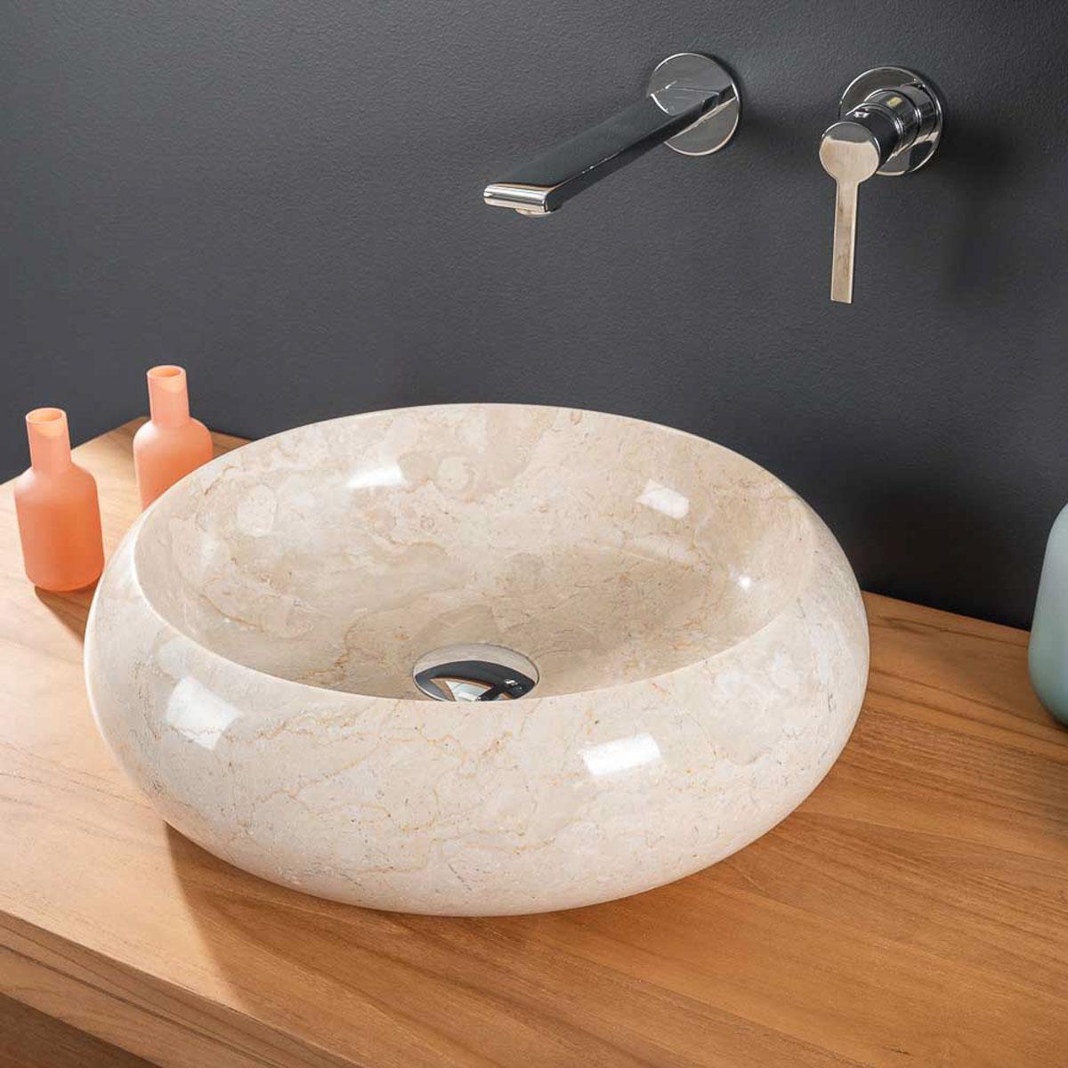 vasque poser en marbre vasque ronde cr me venise 40 cm. Black Bedroom Furniture Sets. Home Design Ideas