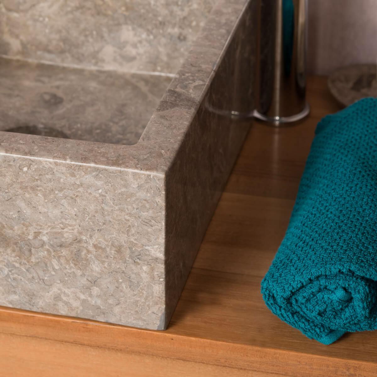 Vasque poser en marbre milan ronde grise taupe d 30cm for Salle de bain taupe et gris
