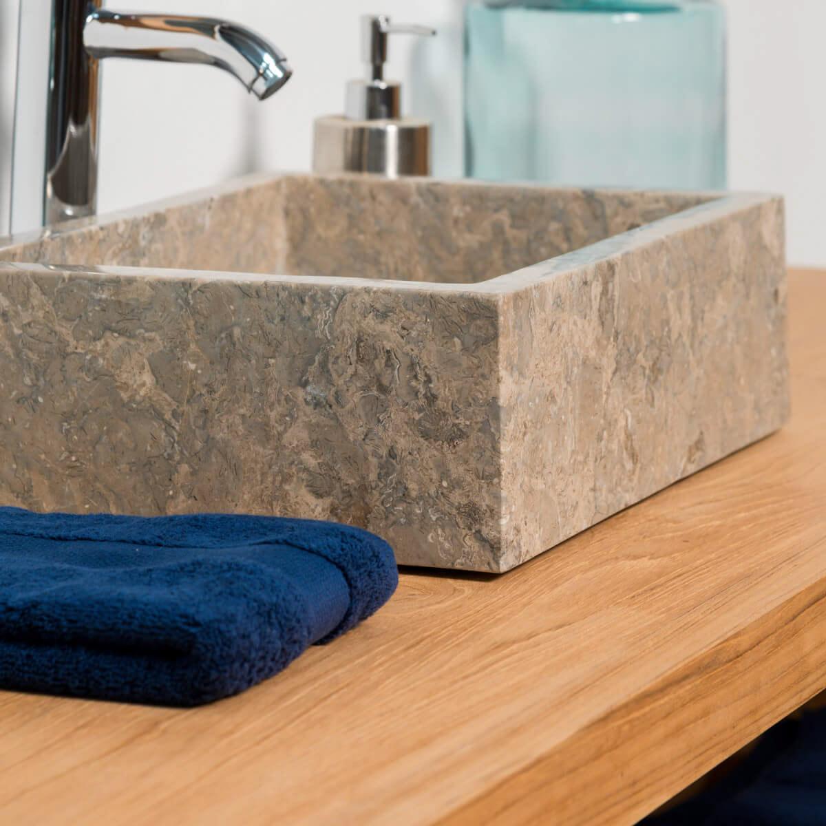 vasque poser en marbre milan rectangle grise taupe l 40 cm. Black Bedroom Furniture Sets. Home Design Ideas