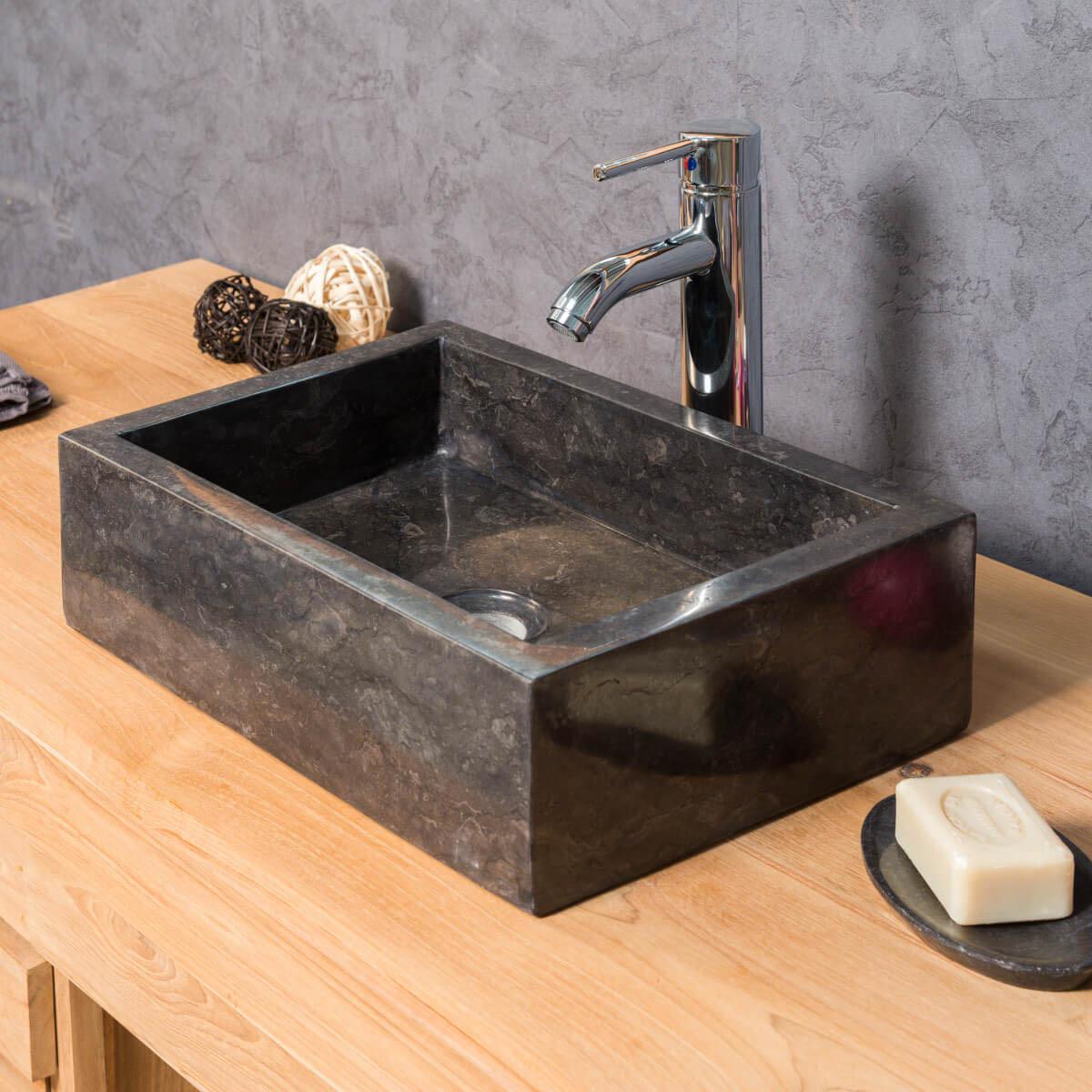 vasque salle de bain poser milan rectangle 30cm x 40cm noir. Black Bedroom Furniture Sets. Home Design Ideas