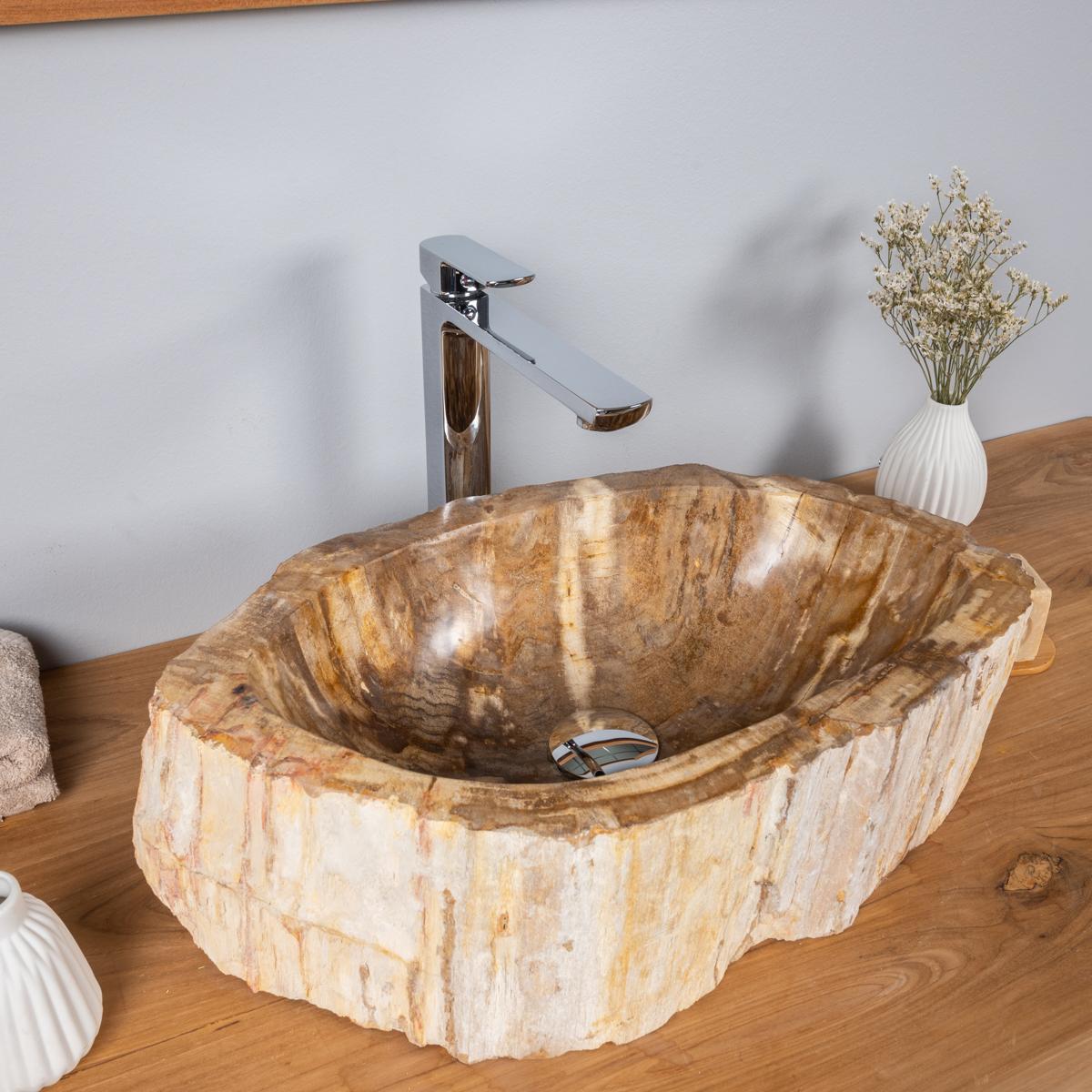 Vasque salle de bain en bois fossilis p trifi poser 53 cm - Vasque salle de bain bois ...