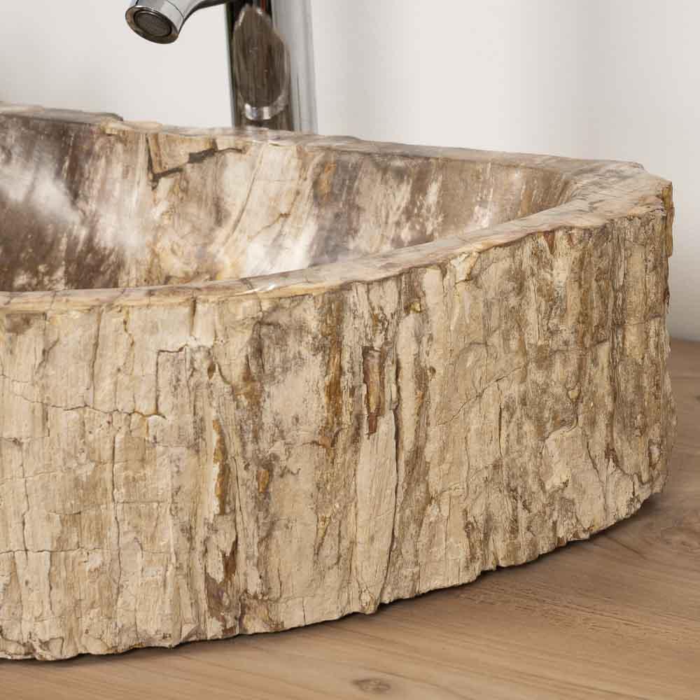 Vasque salle de bain vasque en bois fossilis 68 cm for Vasque salle de bain bois