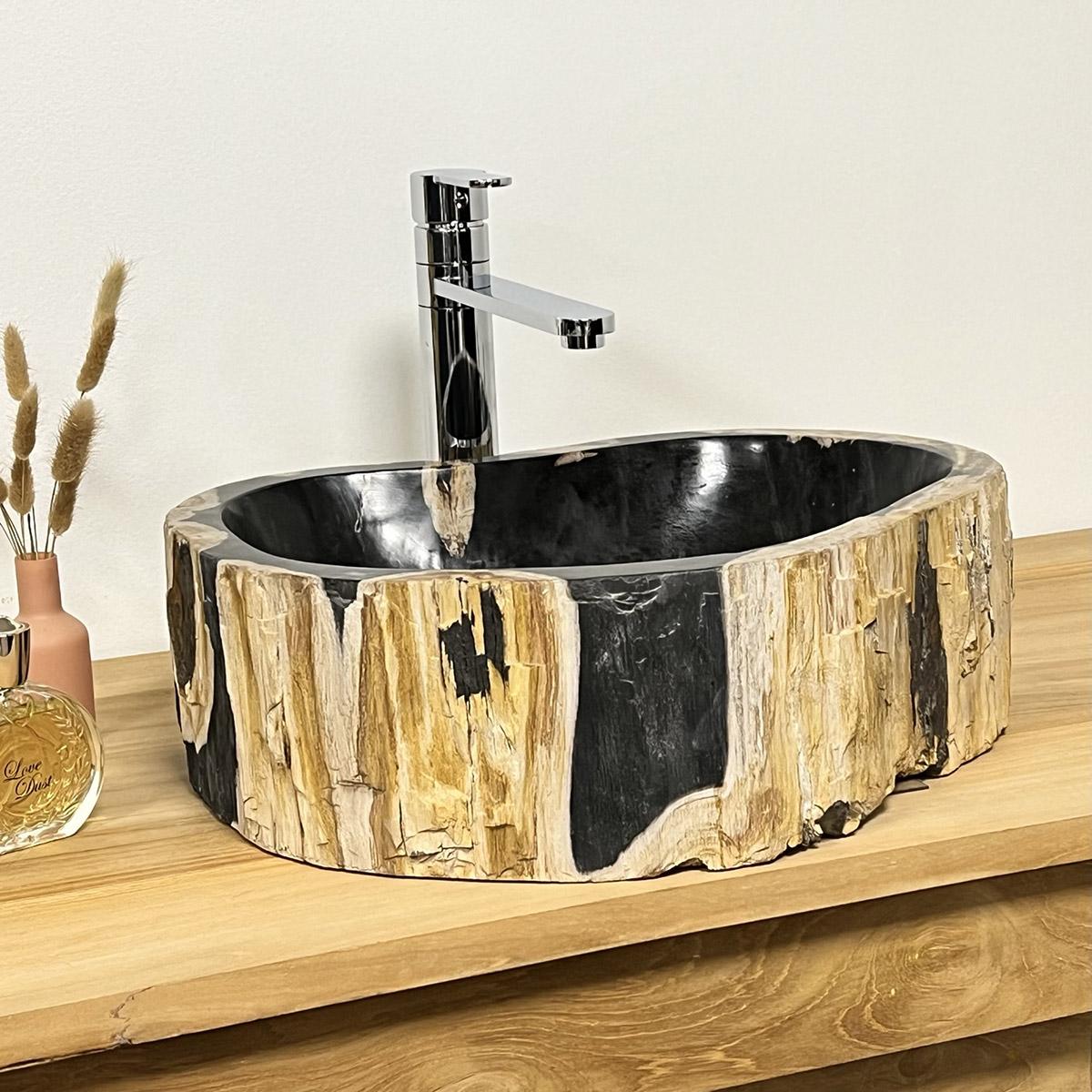 vasque salle de bain vasque en bois fossilis 75 cm. Black Bedroom Furniture Sets. Home Design Ideas