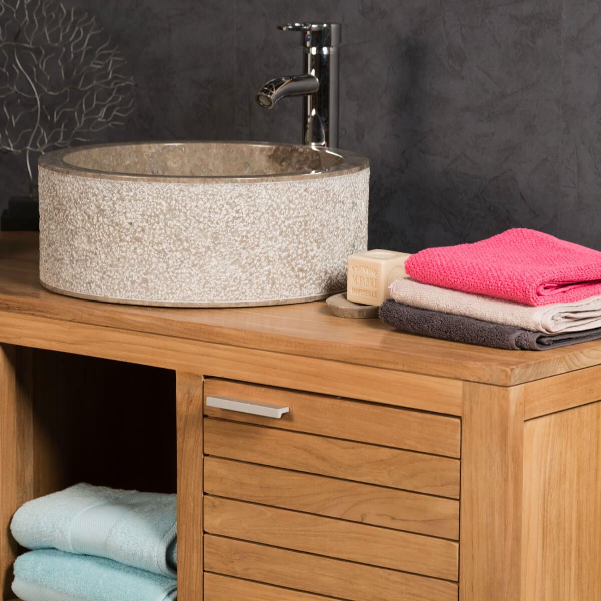Vasque salle de bain en marbre ELBE gris taupe 40cm