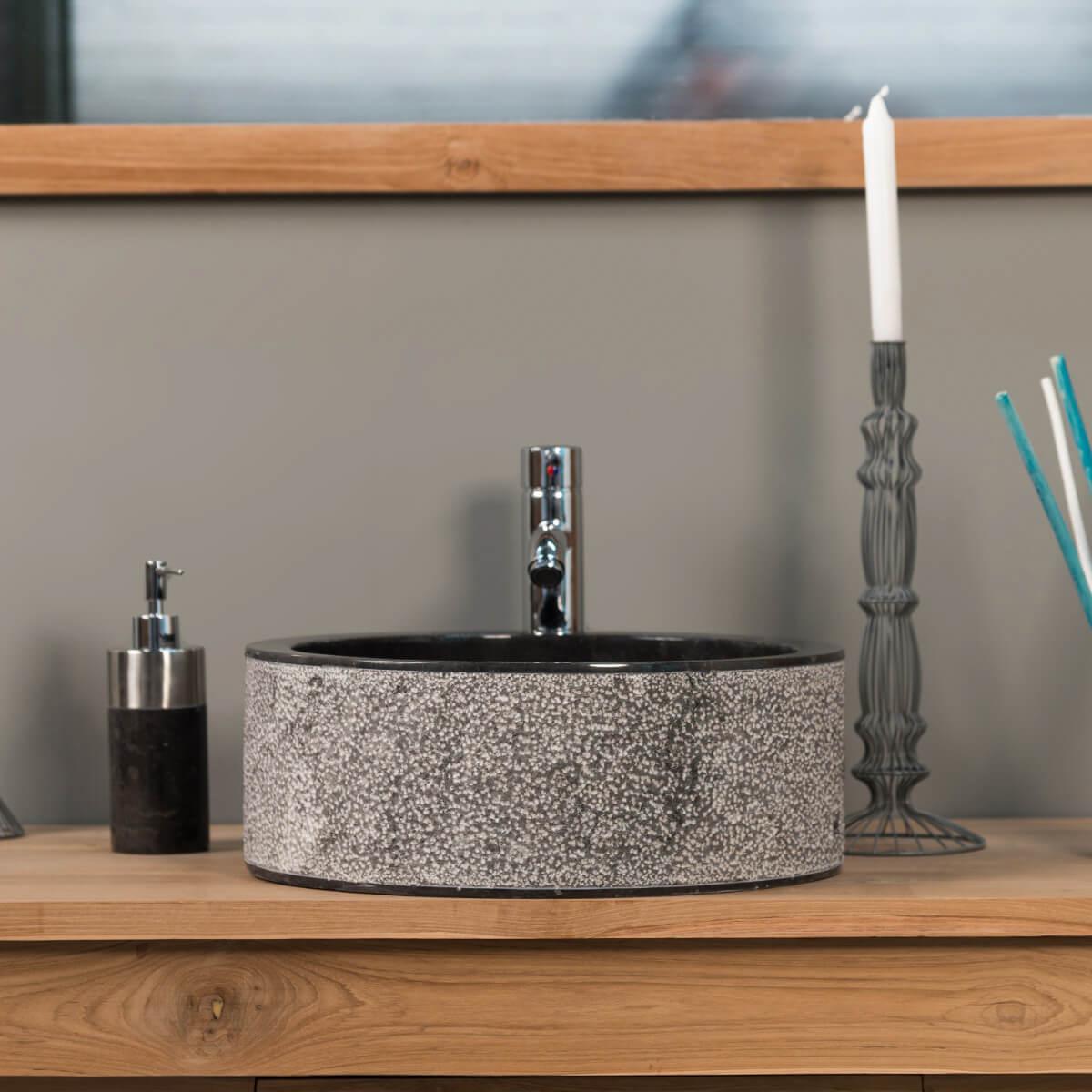 vasque salle de bain en marbre elbe noir 40cm. Black Bedroom Furniture Sets. Home Design Ideas