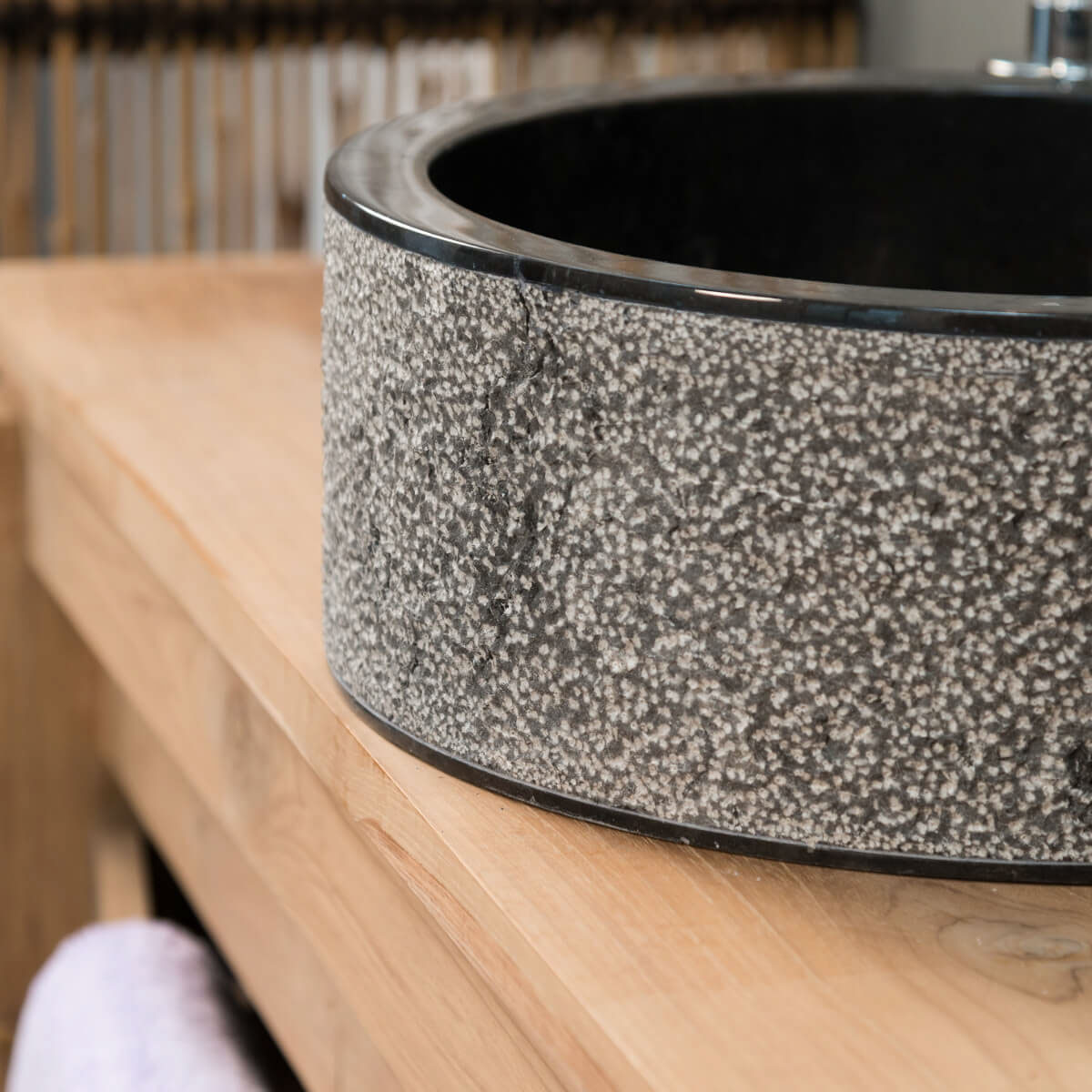 vasque poser marbre ronde noire elbe l 40 x p. Black Bedroom Furniture Sets. Home Design Ideas