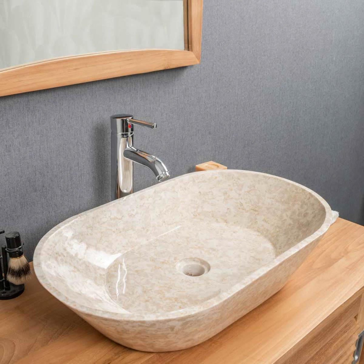 vasque salle de bain  vasque en marbre eve crème 60 cm