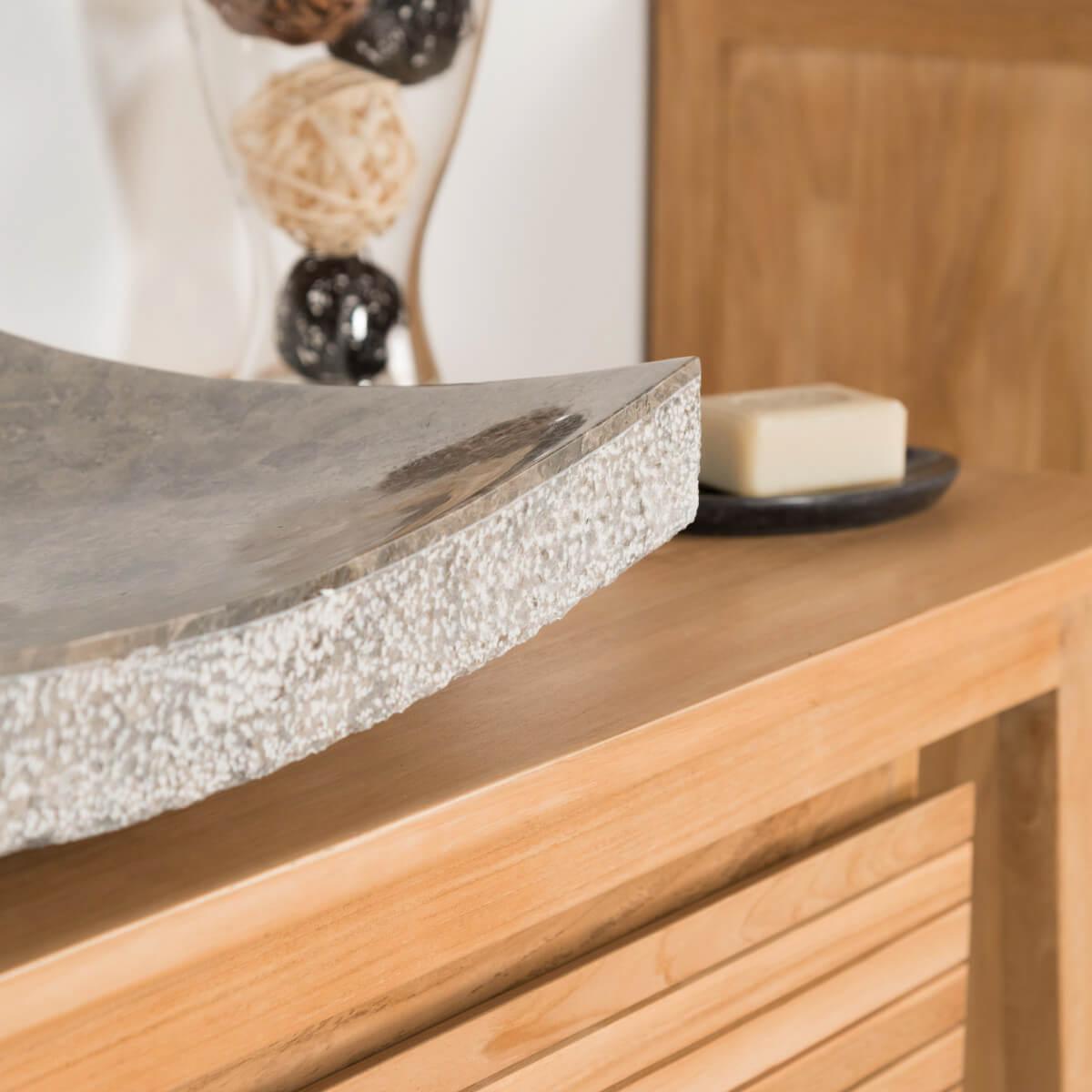 Vasque à poser en marbre : Gênes, rectangle, grise taupe, D : 50 cm