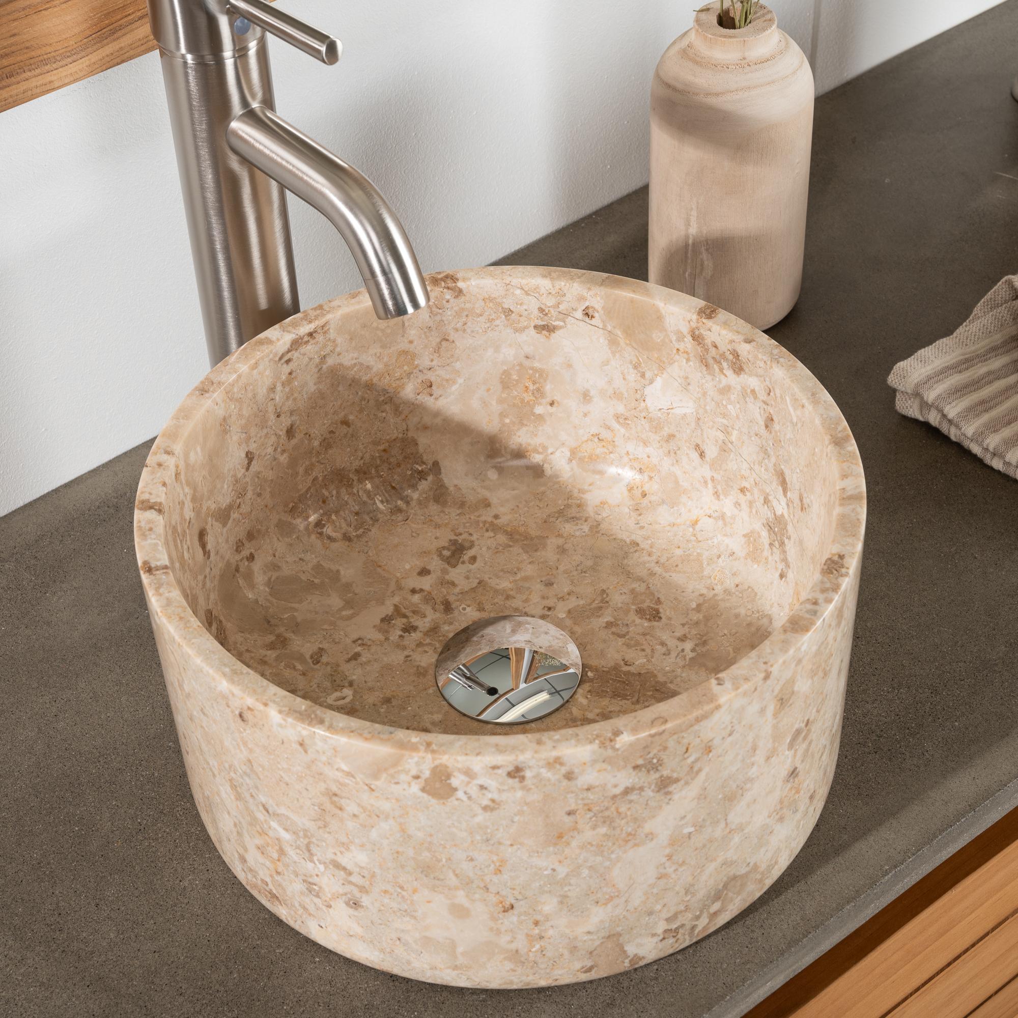 vasque salle de bain ronde à poser en marbre ulysse 30 cm