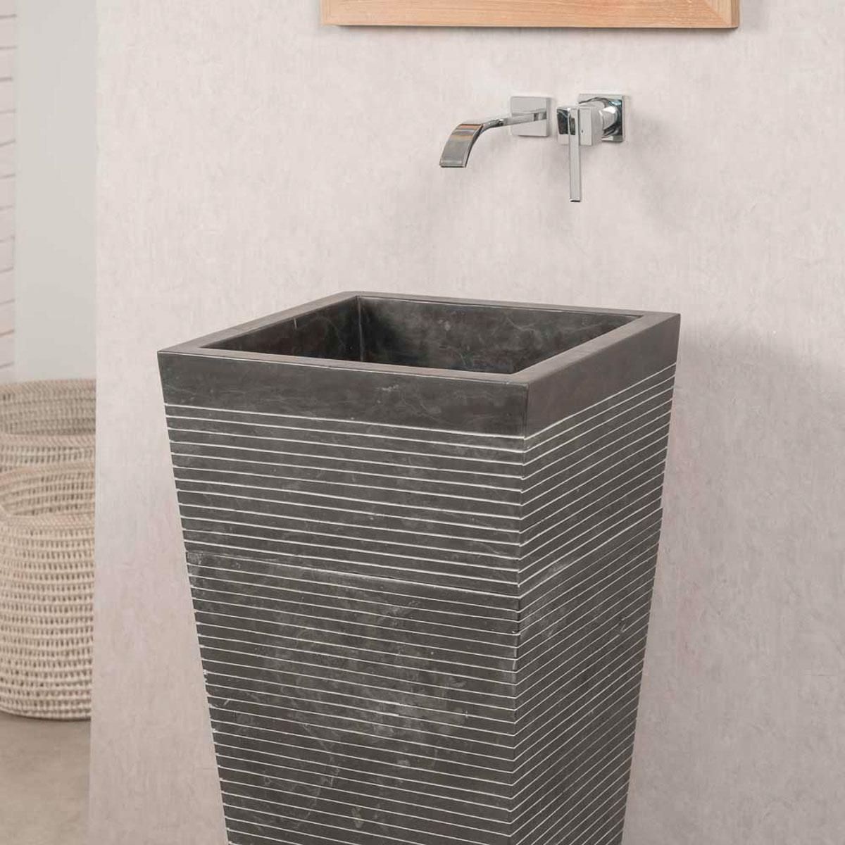 vasque sur pied en marbre vasque colonne carr e noire. Black Bedroom Furniture Sets. Home Design Ideas
