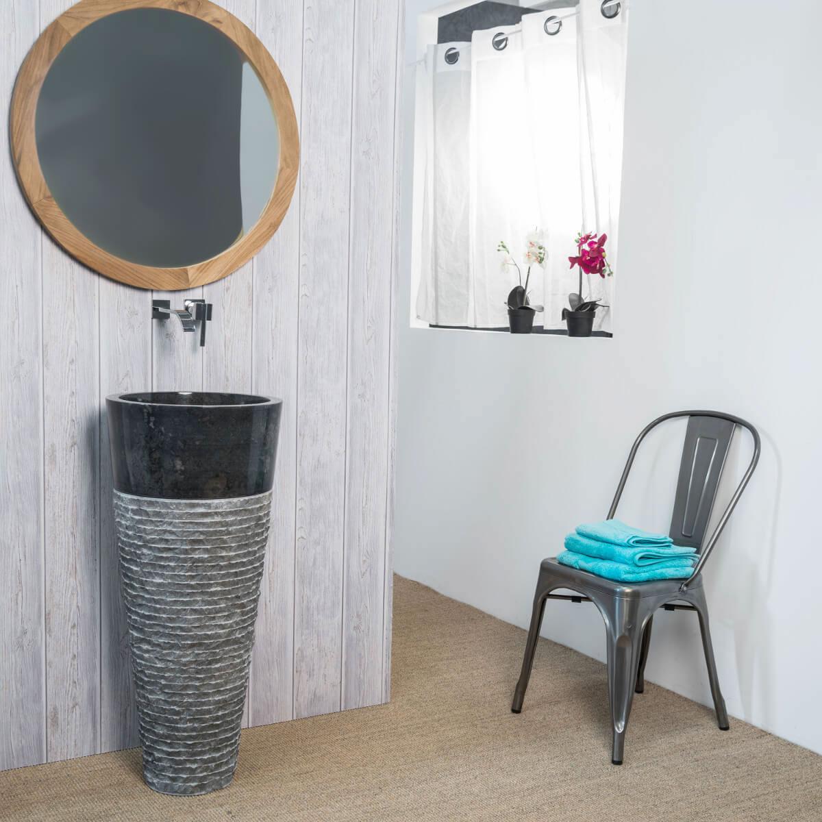 Vasque sur pied en marbre : Florence, conique, vasque noir, H : 90 cm