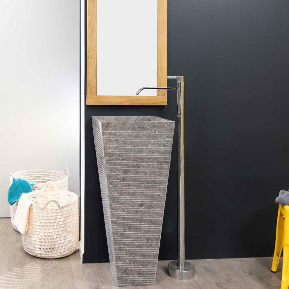 vasque sur pied en marbre guizeh carr e grise l 40 cm. Black Bedroom Furniture Sets. Home Design Ideas