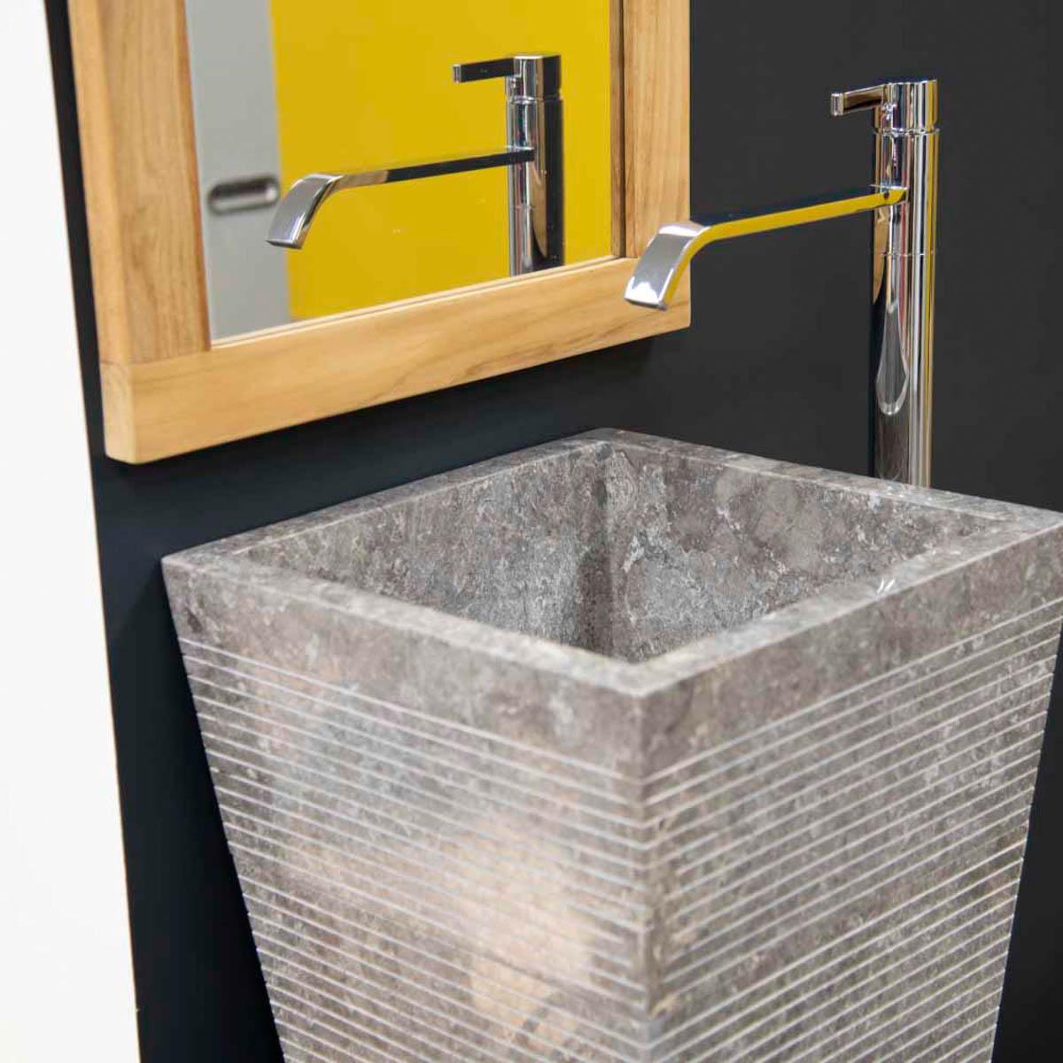 Vasque sur pied en marbre guizeh carr e grise l 40 cm - Vasque salle de bain en pierre naturelle ...