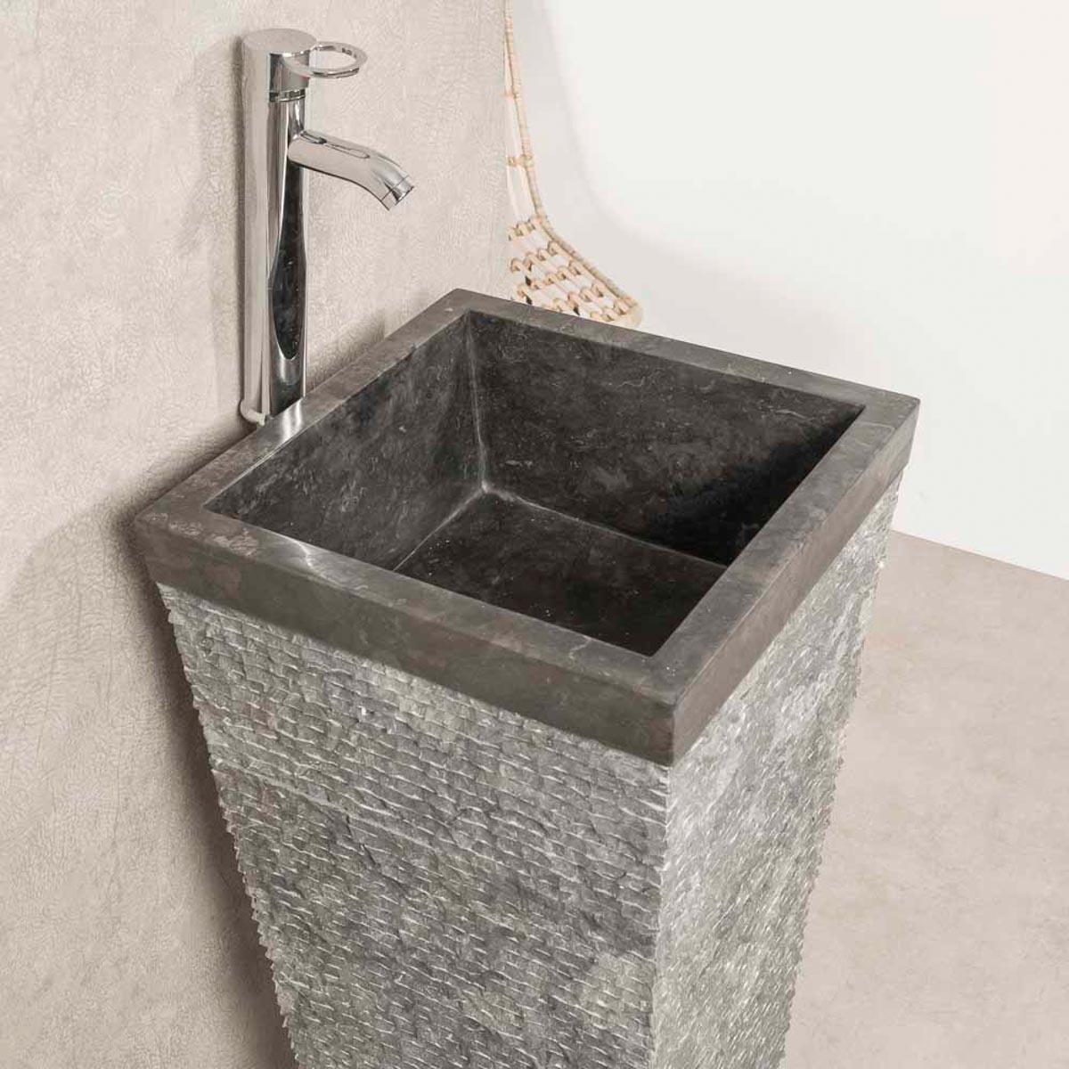 Vasque salle de bain sur pied en pierre pyramide havana noir - Vasque de salle de bain en pierre ...