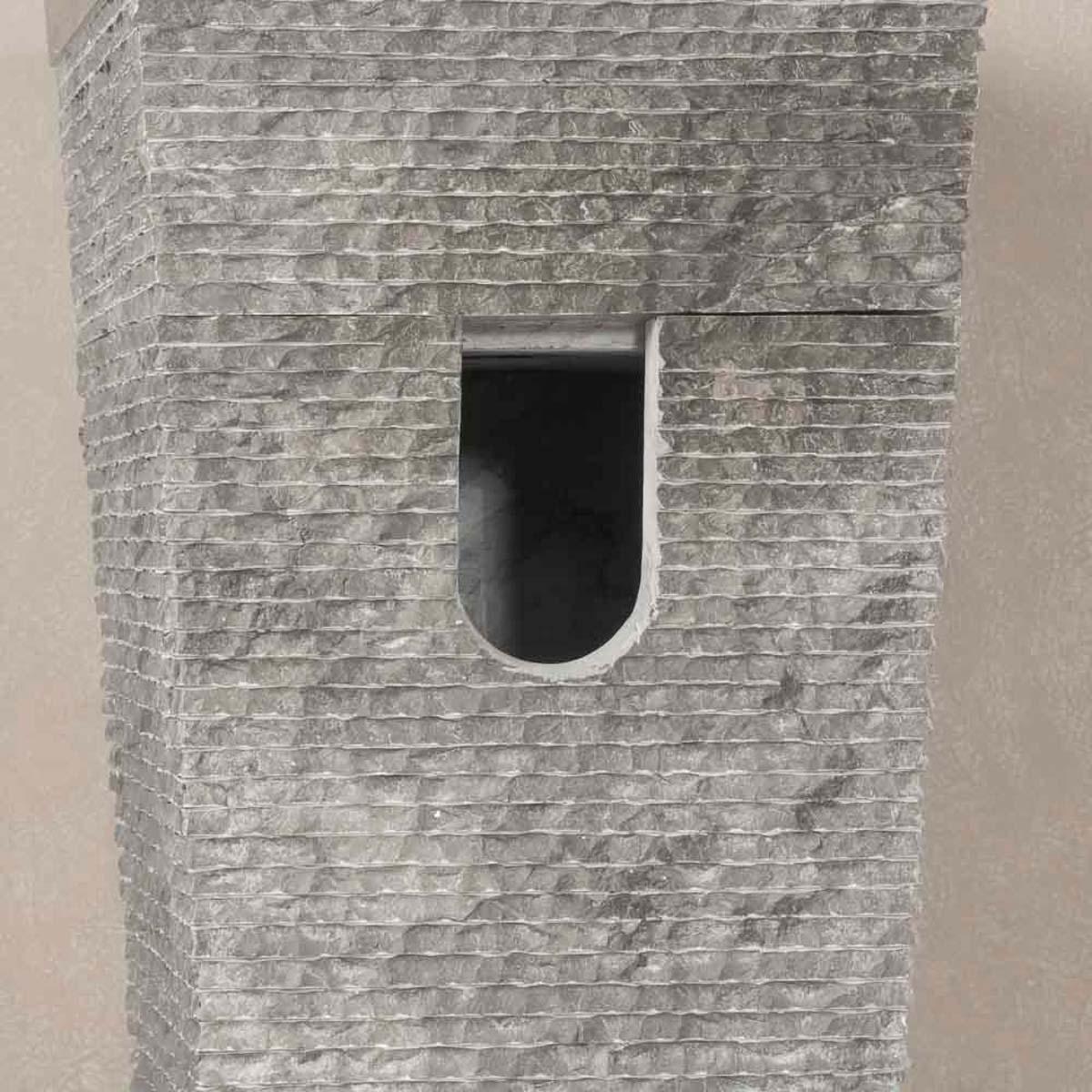 Vasque sur pied en marbre havana carr e noire d 40 cm - Vasque sur pied salle de bain ...