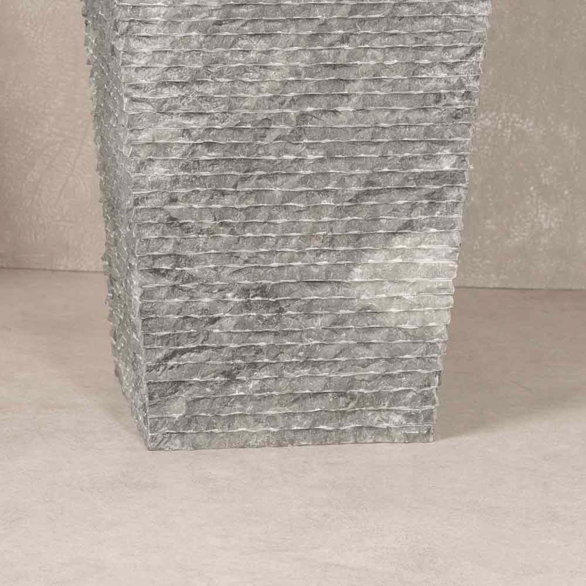 Vasque sur pied en marbre havana carr e noire d 40 cm for Vasque exterieur pierre