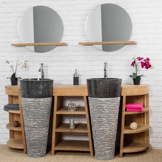 Photo de meuble sous vasque meuble double vasque - Meuble salle de bain 180 cm ...