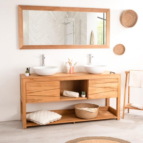 Cosy teak bathroom double-sink vanity unit 160 cm