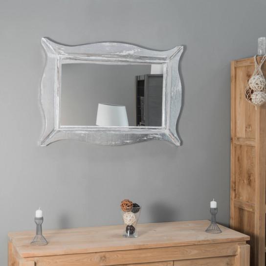 Miroir Moderne en bois patiné blanc argenté  70 x 100cm